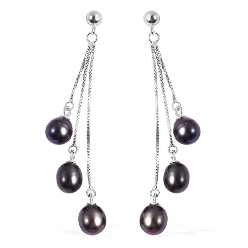 Freshwater Peacock Pearl Dangle Earrings in Sterling Silver