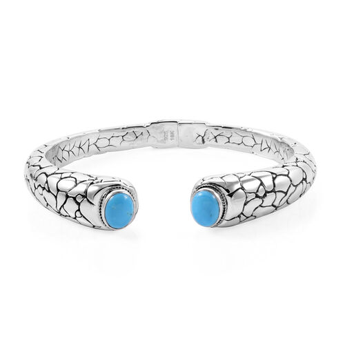 Royal Bali Colletion Arizona Sleeping Beauty Turquoise (Ovl) Bangle (Size 7.5) in 925 Sterling Silver & 18K Yellow Gold 4.470 Ct, Metal wt 43.00 Gms