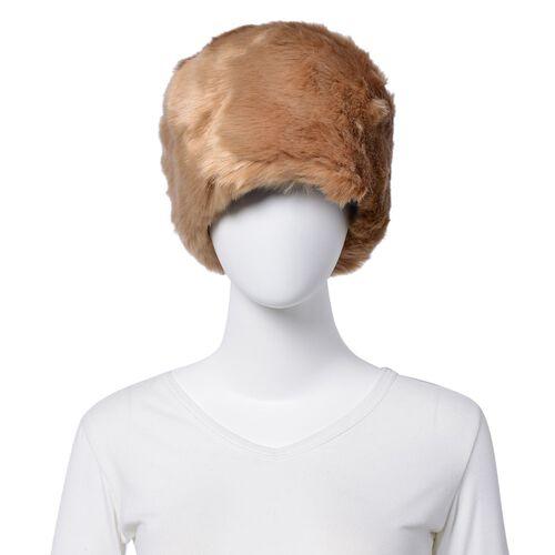 Khaki Faux Fur Set of Hat (One Size elasticated) and Wristband (Size 10 Cm)