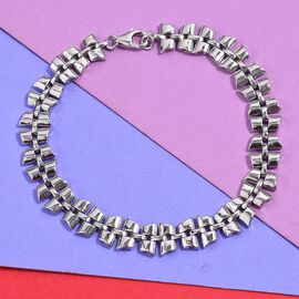 RACHEL GALLEY - Link Collection- Rhodium Overlay Sterling Silver Bracelet (Size 8) Silver Wt 18 Grams