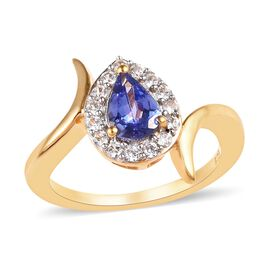 1 Carat Tanzanite and Cambodian Zircon Halo Ring in Gold Plated Sterling Silver