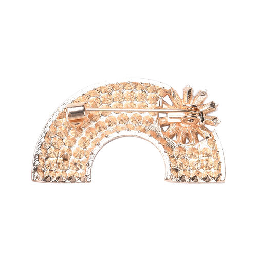 Multi Colour Austrian Crystal, Simulated Diamond Rainbow Brooch with Flower in Yellow Gold Tone