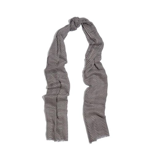 75% Silk and 25% Australian Merino Wool Cream and Chocolate Colour Woven Scarf (Size 180x70 Cm)