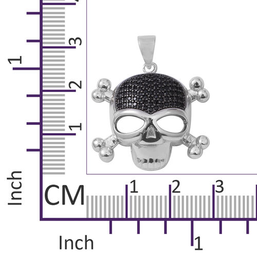 Boi Ploi Black Spinel (Rnd) Skull Pendant in Rhodium Overlay Sterling Silver