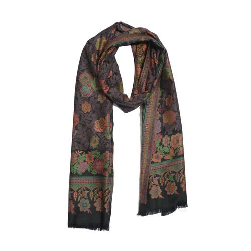 100% Merino Wool Multi Colour Floral Pattern Black Colour Scarf (Size 200x70 Cm)