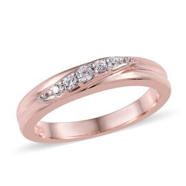 Natural Cambodian Zircon (Rnd) Ring in Rose Gold Overlay Sterling Silver 0.200 Ct.