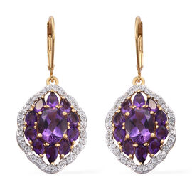 7.25 Ct Amethyst and Natural Cambodian Zircon Cluster Drop Earrings in Gold Plated Sterling Silver