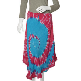 Designer Inspired Blue and Multi Colour Tie and Dye skirt Free Size