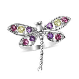 LucyQ Dragonfly Collection - Rhodolite Garnet, Natural Hebei Peridot & Amethyst Ring in Rhodium Over
