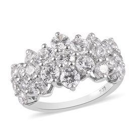 J Francis Platinum Overlay Sterling Silver Floral Cluster Ring Made with SWAROVSKI ZIRCONIA  3.33 Ct