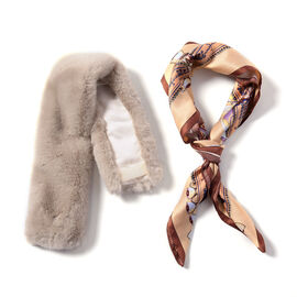 Beige Faux Fur Scarf (58x10cm) with Brown Leopard Print Satin Scarf (70x70cm)