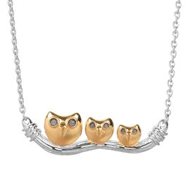Platinum, Yellow Gold and Blue Overlay Sterling Silver Owl Necklace (Size 18), Silver wt 5.90 Gms