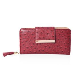 Dot Pattern Wallet with 5 Slip Pocket, 6 Card Slots and 1 Zip Pocket (Size 19.2x10x4 Cm) - Burgundy