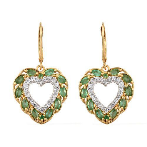 Kagem Zambian Emerald (Mrq), Natural Cambodian Zircon Heart Lever Back Earrings in 14K Gold Overlay Sterling Silver 2.250 Ct.