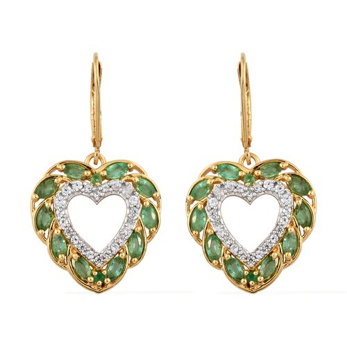Kagem Zambian Emerald (Mrq), Natural Cambodian Zircon Heart Lever Back Earrings in 14K Gold Overlay Sterling Silver 2.250 Ct.