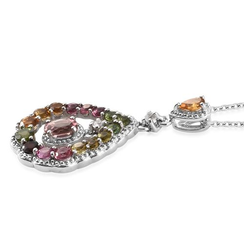 Rainbow Tourmaline (Ovl), Natural Cambodian Zircon Drop Pendant with Chain in Platinum Overlay Sterling Silver 2.250 Ct.