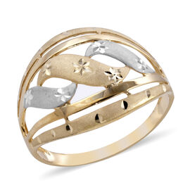Royal Bali Collection - 9K Yellow and White Gold Sand Blasting Diamond Cut Ring (Size S)