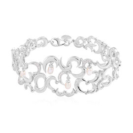RACHEL GALLEY Freshwater Pearl and Natural Cambodian Zircon Snowdrop Bracelet (Size 8) in Rhodium Ov