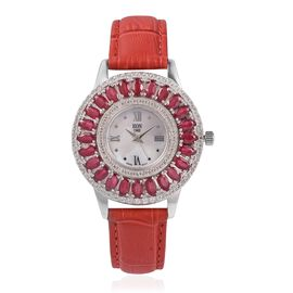 EON 1962 Swiss Movement African Ruby (6.0 Ct) and Natural Cambodian Zircon (1.8 Ct) Sterling Silver