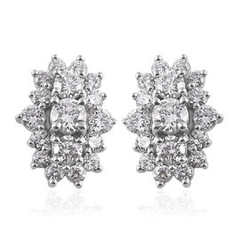 RHAPSODY 950 Platinum IGI CERTIFIED Diamond (Rnd) (VS/E-F) Boat Cluster Earrings (with Screw Back) 2