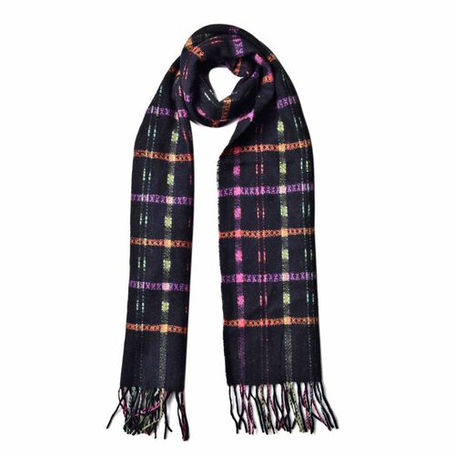 100% Wool Brown, Pink and Multi Colour Checks Pattern Scarf with Tassels (Size 160X30 Cm)