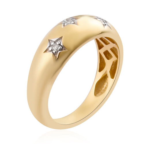 Diamond Star Dome Ring in 14K Gold Overlay Sterling Silver
