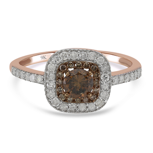 9K Rose Gold SGL Certified Natural Champagne Diamond and White Diamond (I3/ G-H) Ring 1.00 Ct.