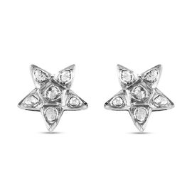 Artisan Crafted Polki Diamond Star Earrings (with Push Back) in Platinum Overlay Sterling Silver 0.5