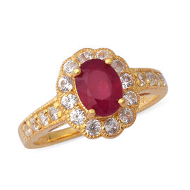 3.20 Ct African Ruby and Zircon Floral Halo Ring in Gold Plated Sterling Silver