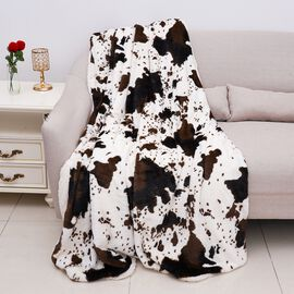 Supersoft Faux Fur Sherpa Blanket with Cow Pattern (Size 150x200 cm) - Off-White and Brown