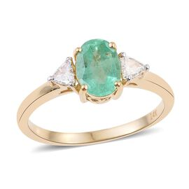 14K Y Gold AAA Boyaca Colombian Emerald (Ovl 1.05 Ct), Diamond (I 1/G-H) Ring 1.250 Ct.