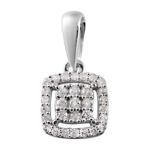 9K White Gold SGL Certified Diamond (I3/G-H) Cluster Pendant 0.20 Ct.
