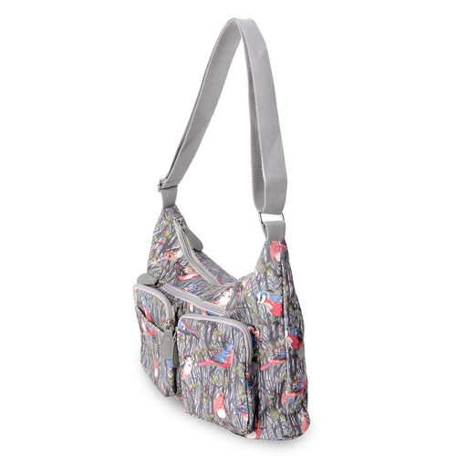 Water Resistant Birds Pattern Crossbody Bag with External Zipper Pockets and Adjustable Shoulder Strap (Size 33x22x11 Cm)