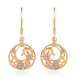 White Diamond Dangling Filigree Hook Earrings in 14K Yellow Gold Overlay Sterling Silver