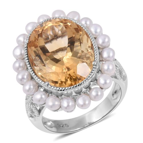 Limited Edition- Rare Size Citrine (Ovl 9.00 Ct), Fresh Water Pearl Ring in Rhodium Overlay Sterling Silver 11.000 Ct. Silver wt 5.49 Gms.