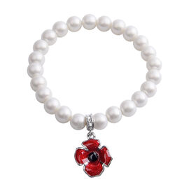 TJC Poppy Design - White Shell Pearl, Black and White Austrian Crystal Stretchable Enamelled Poppy B