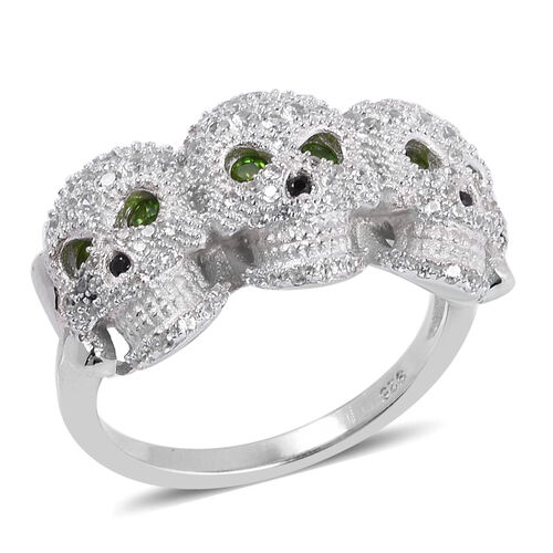 Halloween Collection- Russian Diopside (Rnd), Boi Ploi Black Spinel and Natural White Cambodian Zirc