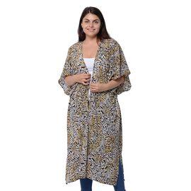 Designer Inspired- Black and Brown Colour Leopard Pattern Kimono (Size 116.8X96.5cm)