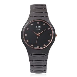 EON 1962 Swiss Movement Studded 3ATM Water Resistant Watch with Black Ceramic Strap