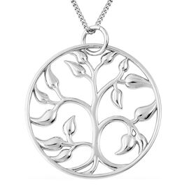 Tree of Life Pendant with Chain in Rhodium Plated Sterling Silver 18 Inch