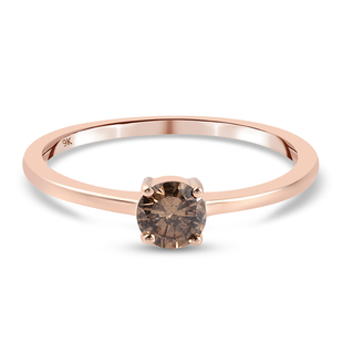 9K Rose Gold SGL Certified Natural Champagne Diamond (I3) Solitaire Ring 0.50 Ct.
