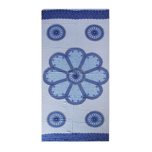 Bali Collection - Blue and White Colour Padma Coins Motif Sarong with Sequin (Size 160X110 Cm)