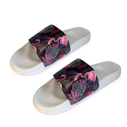 Flamingo and Floral Print Slider Sandals White, Purple and Multi Colour (EU 37/ UK 5)