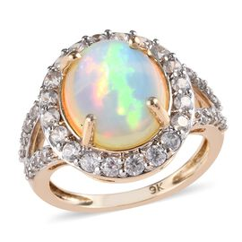 9K Yellow Gold Ethiopian Welo Opal (Ovl 12x10 mm), Natural Cambodian Zircon Ring 4.25 Ct.
