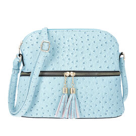 Designer Inspired - Ostrich Embossed Crossbody Bag with Tassel zippers (Size 26x10x23cm) - Blue