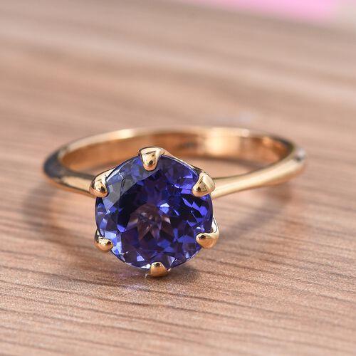 ILIANA 18K Yellow Gold AAA Tanzanite (Rnd) Solitaire Ring 2.25 Ct.