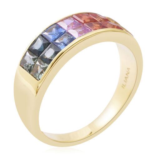 ILIANA 18K Yellow Gold AAAA Rainbow Sapphire (Sqr) Ring 2.550 Ct. Gold wt 4.90 Gms
