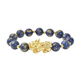 Lapis Lazuli Stretchable Bracelet (Size-6.5 - 7) in Yellow Tone