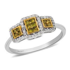 Yellow Diamond and White Diamond Ring in Platinum Overlay Sterling Silver 0.50 Ct.