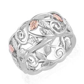 Designer Inspired- Platinum and Rose Gold Overlay Sterling Silver Leaf Ring, Silver wt 4.36 Gms